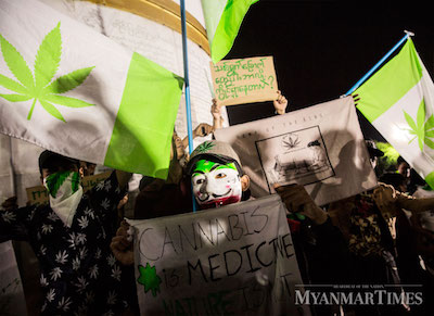 """Myanmar, """"The 1111 Movement"""" Small Group Publicly Protest For Legalization  of Cannabis"""