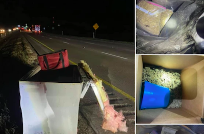 Who tossed a fridge full of weed onto a Texas highway right in front of a cop?